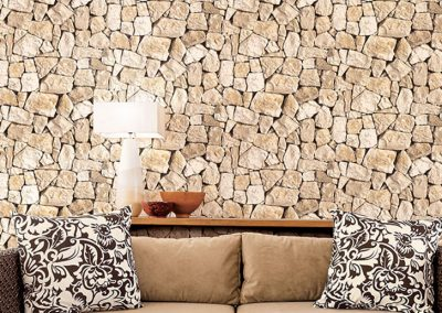 Living room with beige and cream stone wallcovering